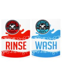 CHEMICALGUYS.EU SEAU AUTOCOLLANT WASH RINSE SET BLEU ROUGE
